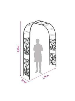 Arche premium tôle décor végétal 195/50/250 ardoise - Pergola