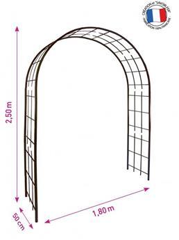 Arche dbl décor treillage larg. 180 Prof.50 Ht 250 cm fer vieilli