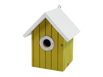 Nichoir toit blanc maison jaune clair