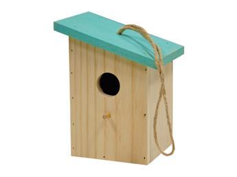 Nichoir bois naturel toit coloré bleu clair