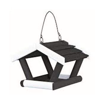 Mangeoire Oiseaux Suspendue, 30 × 18 × 28 Cm, Noir/Blanc