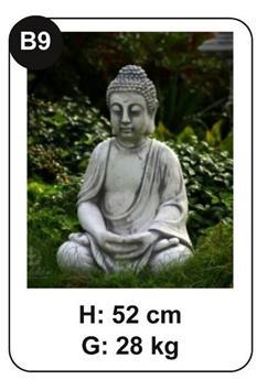 Bouddha assis méditation béton patiné (B9)