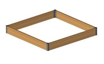 Growcamp potager carré bois 120 / 120 cm Ht 15 cm Premium