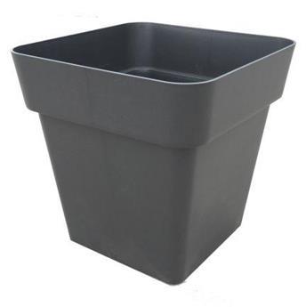 Pot carré plastic Anthracite 40/40 cm