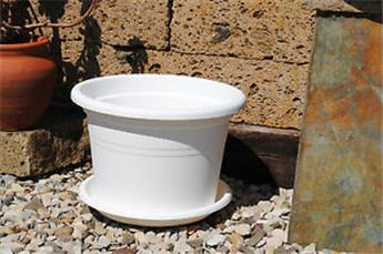 Pot Cylindro plastic Blanc Diam. 40 cm